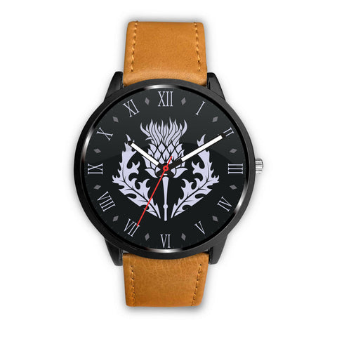 Scotland - Scottish Thistle Symbols (men's/women's) brown leather/steel watch
