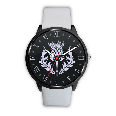 Scotland - Scottish Thistle Symbols (men's/women's) leather/steel watch white