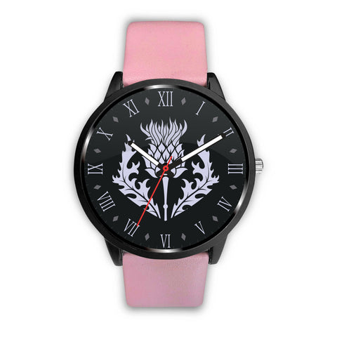 Scotland - Scottish Thistle Symbols (men's/women's) pink leather/steel watch