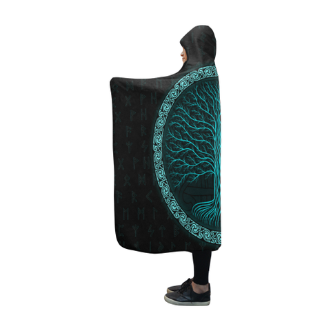 Viking Hooded Blanket - Viking Tree of Life A9