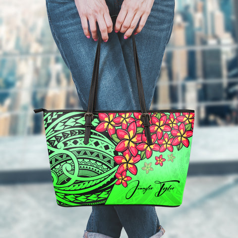 (Custom) Polynesian Leather Tote - Polynersian Plumeria Green Personal Signature | Love The World