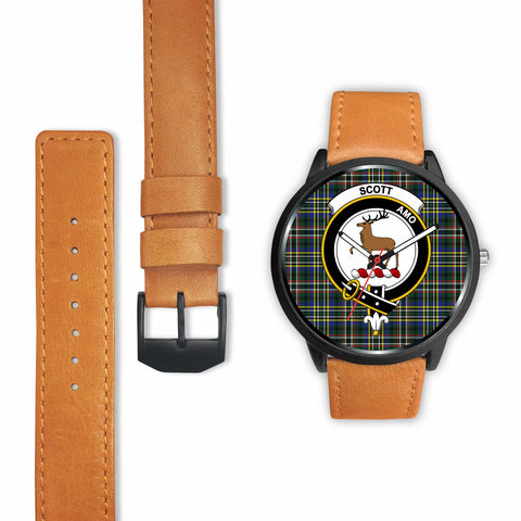Image of Scott Modern Clan Badge Tartan Leather/Steel Watch - BN