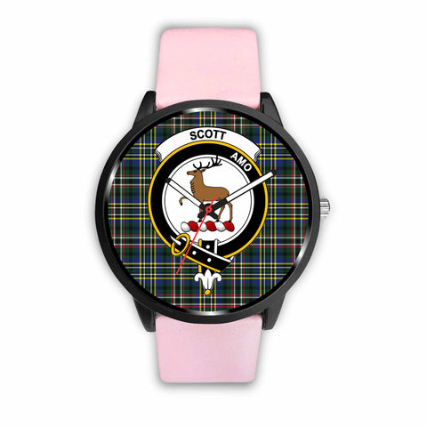 Scott Modern Clan Badge Tartan Leather/Steel Watch - BN