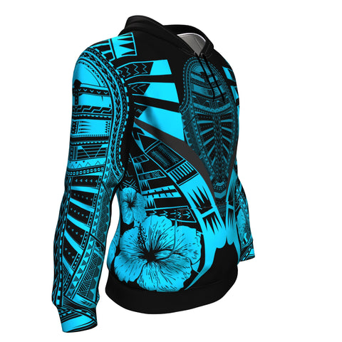 Image of Polynesian Tattoo Hoodie Hibiscus Blue - Side 1