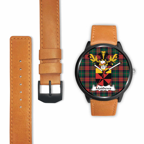 Image of Matthews Clan Badge Tartan Leather-Steel Watch - BN04