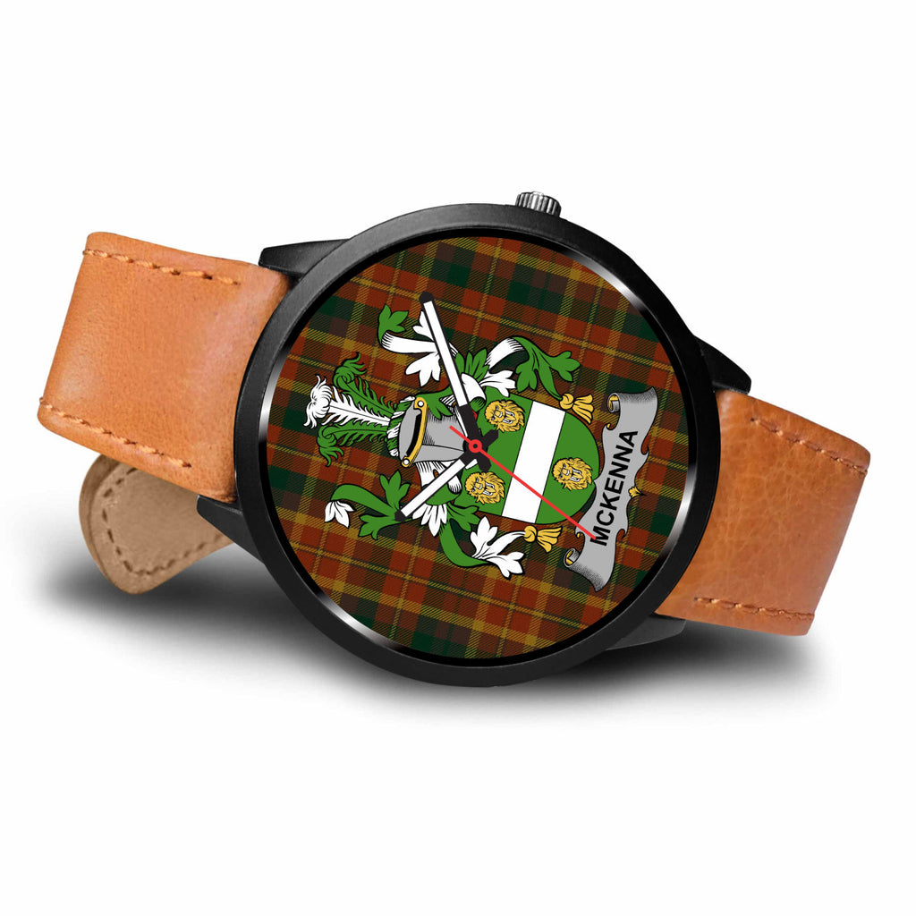 McKenna Tartan Clan Badge 1 Leather-Steel Watch - BN04