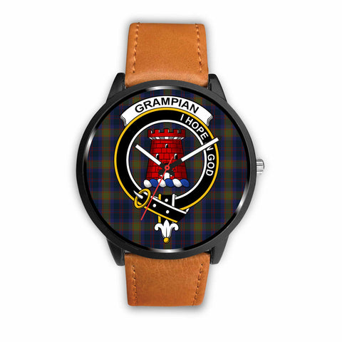 Grampian Clan Badge Tartan Leather/Steel Watch - BN