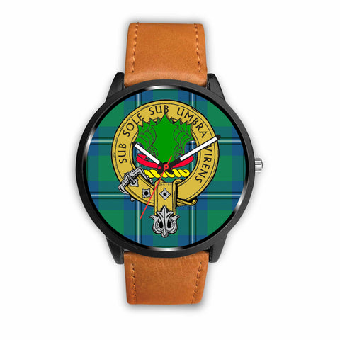 Irving Clan Badge Tartan Leather/Steel Watch - BN