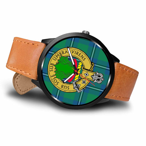 Image of Irving Clan Badge Tartan Leather/Steel Watch - BN
