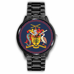 Barbados Leather/Steel Watch - Coat Of Arm - BN04