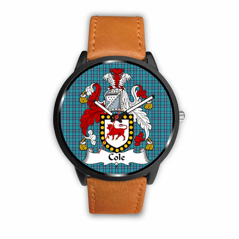 Image of Cole Clan Badge Tartan Leather/Steel Watch - BN