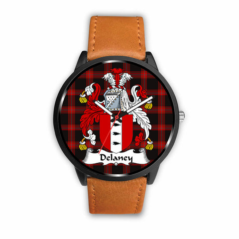 Delaney Clan Badge Tartan Leather/Steel Watch - BN