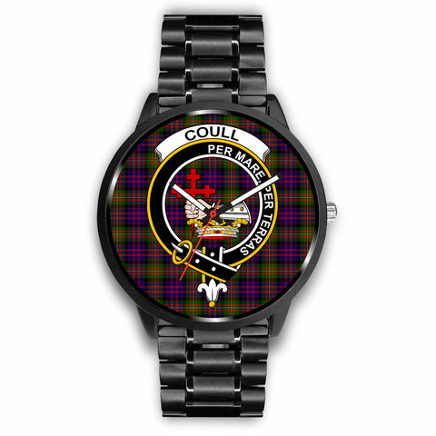 Coull Clan Badge Tartan Leather/Steel Watch - BN