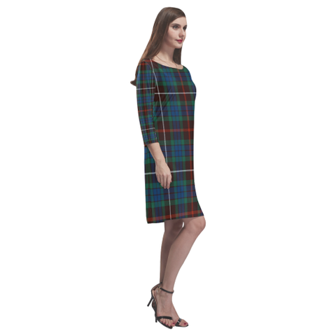 Fraser Hunting Ancient Tartan Dress - Rhea Loose Round Neck Dress - BN