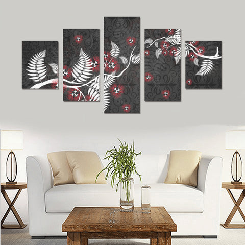 New Zealand Tui Bird Silver Fern 5 Piece Framed Canvas 01 k7 ( No Frame)