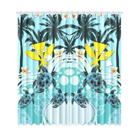 Image of Hawaii Window Curtain - Blue Turtle Hibiscus A24