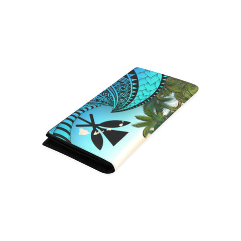 Kanaka Maoli ( Hawaiian) Wallet Women - Polynesian Turtle Coconut Tree And Plumeria A24
