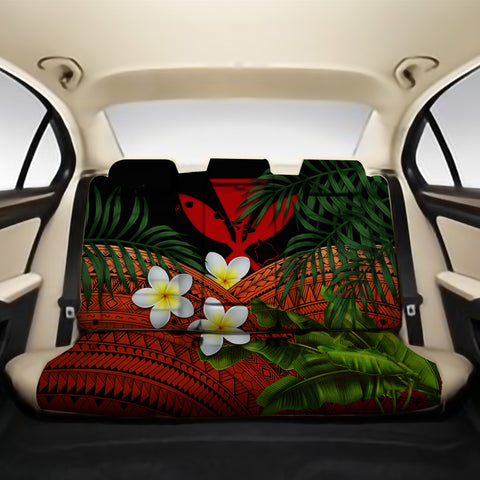 Kanaka Maoli (Hawaiian) Back Car Seat Covers - Polynesian Plumeria Banana Leaves Red A02