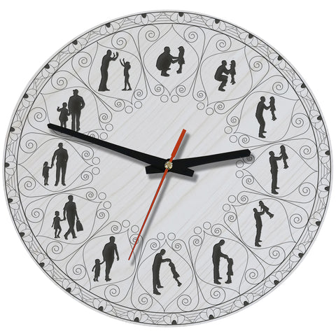 Father And Daughter Lovely Wooden Wall Clock