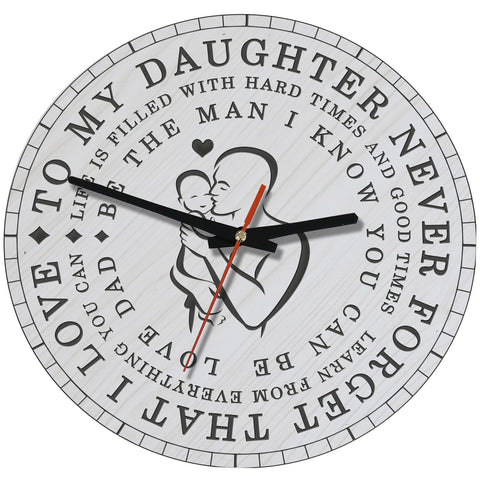 Love Forever Dad And Daughter Wooden Wall Clock