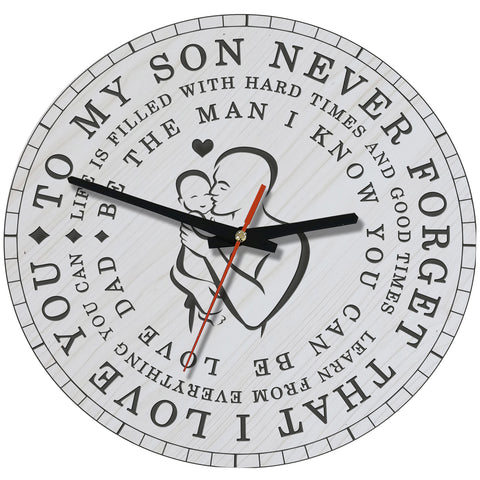 Love Forever Dad And Son Wooden Wall Clock