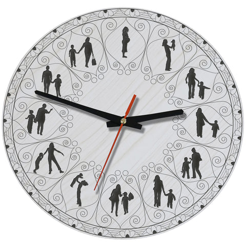 Mother And Son Lovely Wooden Wall Clock