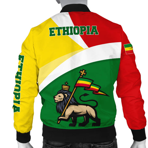 1stTheWorld Ethiopia Bomber Jacket, Ethiopia Flag Maps Green Men A10