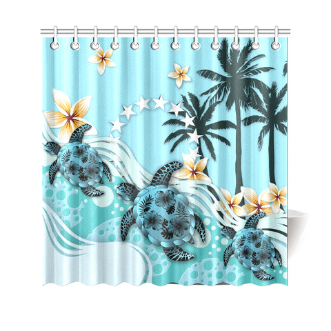 Cook Islands Shower Curtain - Blue Turtle Hibiscus A24