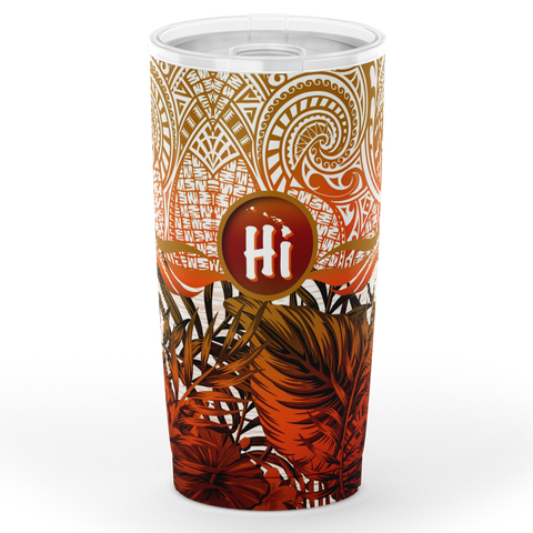 Image of Kanaka Maoli (Hawaiian) Tumbler, Map Polynesian Palm Leaves Hibiscus Plumeria Flowers (Orange) | Love The World