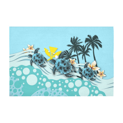 Hawaii Tablecloth - Blue Turtle Hibiscus A24