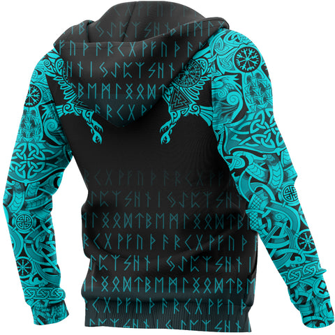 Vikings Hoodie - The Raven Of Odin Tattoo Special Cyan A7