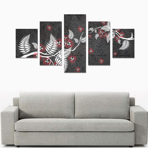 Image of New Zealand Tui Bird Silver Fern 5 Piece Framed Canvas 01 k7 ( No Frame)