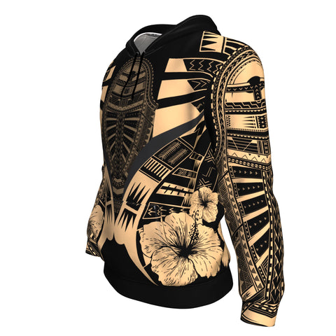 Polynesian Tattoo Hoodie Hibiscus Gold - Side 2
