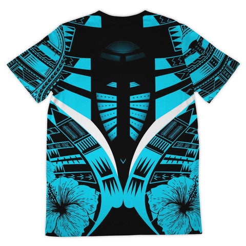 Image of Polynesian Tattoo T Shirt Hibiscus Blue - Back 2