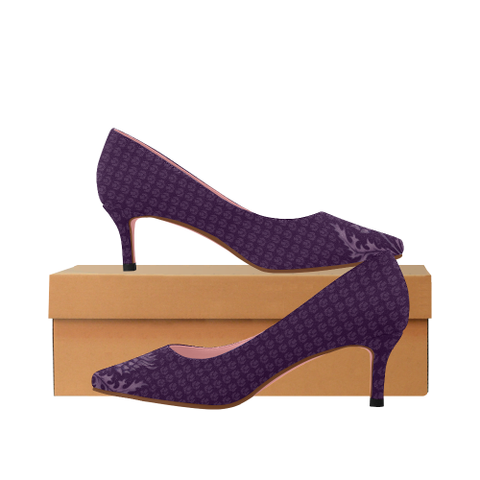 Image of Scotland Low Heel Pumps - Purple Thistle A9