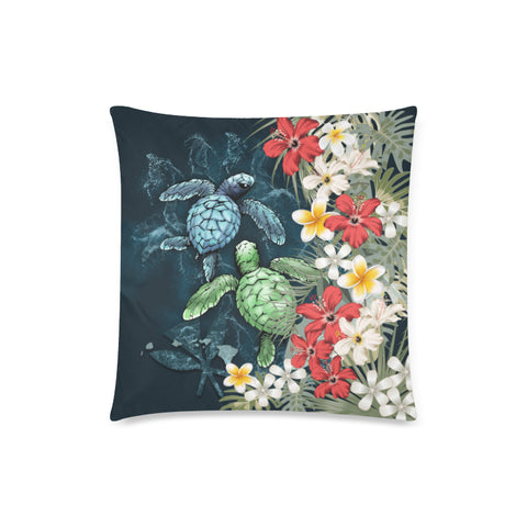 Image of Kanaka Maoli (Hawaiian) Pillow Case - Sea Turtle Tropical Hibiscus And Plumeria | Love The World