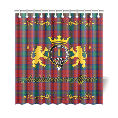 Tartan Shower Curtain - Auchinleck or Affleck Clan | Scottish Home Set | Over 300 Clans