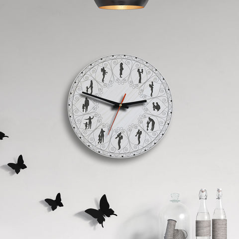 Mother And Daughter Lovely Wooden Wall Clock