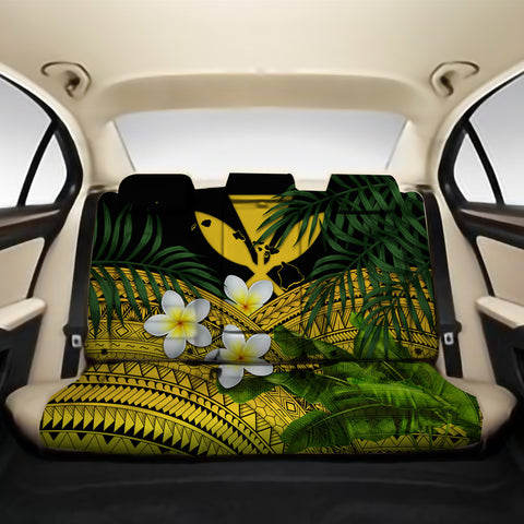 Kanaka Maoli (Hawaiian) Back Car Seat Covers - Polynesian Plumeria Banana Leaves Yellow A02