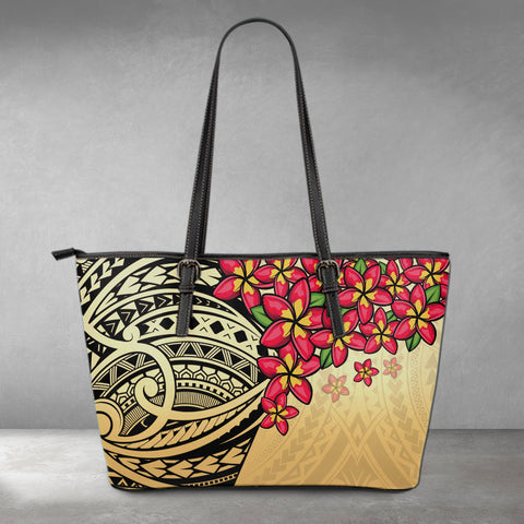 (Custom) Polynesian Leather Tote - Polynersian Plumeria Gold Personal Signature | Love The World