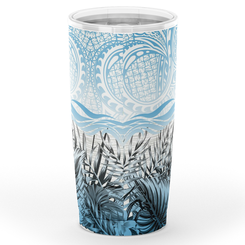 Kanaka Maoli (Hawaiian) Tumbler, Polynesian Palm Leaves Hibiscus Plumeria Flowers (Pastel) | Love The World