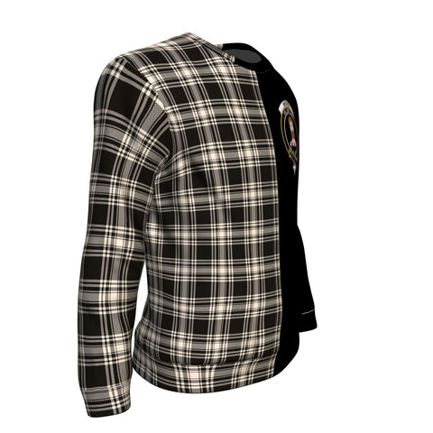 Menzies Black & White Ancient Tartan Sweatshirt - Half Style TH8