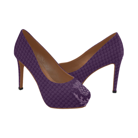 Scotland High Heel Pumps - Purple Thistle A9 |Footwear| 1sttheworld