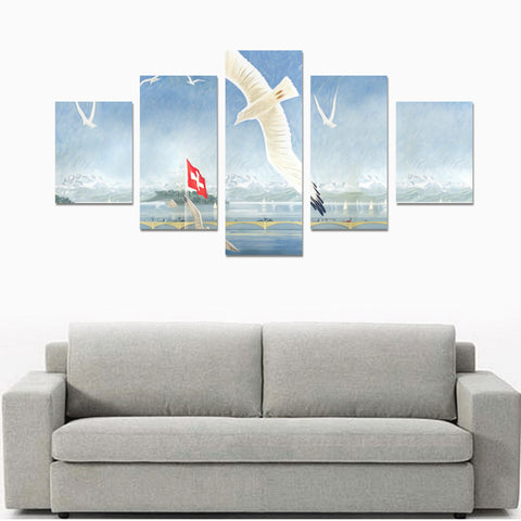 Switzerlands Zurich 5 Piece Framed Canvas (No Frame) K5
