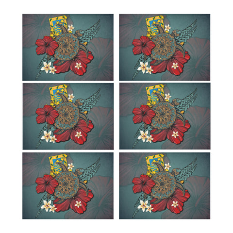 Tuvalu Placemat - Blue Turtle Tribal A02