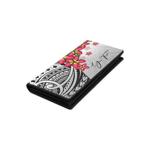Image of (Custom) Polynesian Plumeria Gray Wallet Women Personal Signature A24