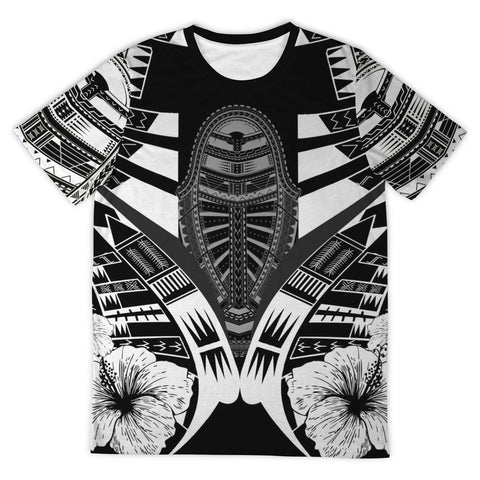 Image of Polynesian Tattoo T Shirt Hibiscus Black White - Front 2