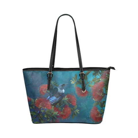 Image of New Zealand Pohutukawa And Tui Bird Leather Tote Bag H5