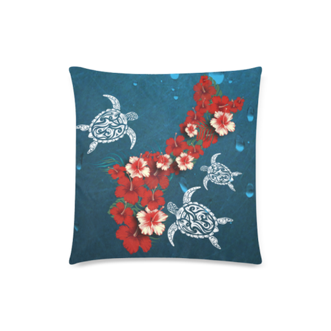 Image of Guam Pillow Covers - Hibiscus and Turtle NN2