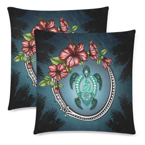 Image of Kanaka Maoli (Hawaiian) Pillow Case - Polynesian Ohana Turtle Hibiscus | Love The World